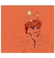 Hand female wears a crown on his head vector image