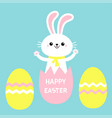 happy easter painted eggs rabbit bunny holding vector image vector image