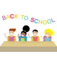 happy school kids studying and raising their hands vector image