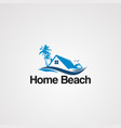 home beach logo with flying bird icon element and vector image vector image