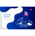 isometric protection network security and safe vector image vector image