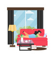 living room interior flat style design vector image