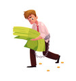 man carrying bundle of banknotes in his hands vector image