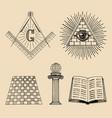 masonic symbols set sacred society icons vector image