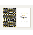 Merry christmas retro tribal gold pattern card set vector image vector image