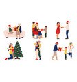 people with christmas presents family and friends vector image vector image
