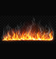 realistic burning fire flames with smoke vector image vector image