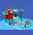 santa claus gets on a christmas plane vector image vector image