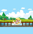 scene background design with kids paddling in vector image