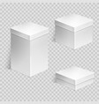 set of realistic cardboard boxes over transparent vector image vector image