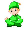 sitting cute christmas elf vector image