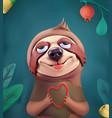 sloth cartoon character cute animals 3d vector image vector image