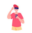 smiling and surprised man looking smartphone vector image vector image