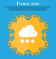 snow cloud icon Floral flat design on a blue vector image