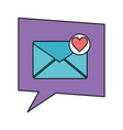 speech bubble with envelope mail and heart vector image vector image