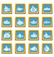 submarine icons set sapphirine square vector image vector image