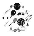 summer sport black simple icons set vector image