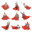 superhero business men in different poses cartoon vector image vector image