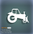 Tractor icon On the blue-green abstract background vector image vector image