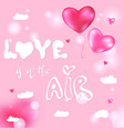 valentines pink heart balloons poster vector image