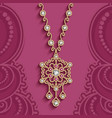 vintage jewelry necklace in ethnic style vector image