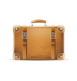 vintage travel bag leather brown suitcase vector image vector image