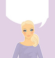 womans front face think vector image vector image