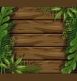 wooden background with green leaves vector image vector image