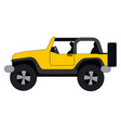 yellow jeep on white background vector image vector image