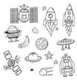 doodle rocket vector image