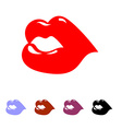 Kiss Juicy bright womens lips Set of colored vector image