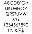 Hand crafted retro font alphabet scratch gothic vector image