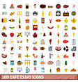 100 cafe essay icons set flat style vector image vector image