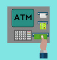 atm machine with hand withdrawing money concept vector image vector image
