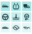 automobile icons set with automobile lorry vector image