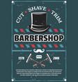 barbershop barber razor mustache and retro hat vector image
