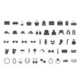 black icons accessories bags hats jewelry vector image