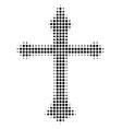 black pixel christian cross icon vector image vector image