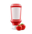 blank plastic red tomato ketchup bottle for vector image vector image