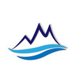 blue mountain terrain logo icon vector image vector image