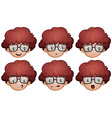 Boy with glasses having different emotions vector image vector image