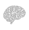 brain shaped complicated maze black silhouette vector image