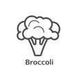 broccoli thin line icon isolated cauliflower vector image vector image
