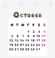 Calendar 2015 october vector image