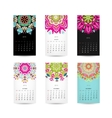 Calendar grid 2015 for your design floral vector image