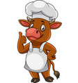 cartoon happy cow chef giving thumbs up vector image vector image