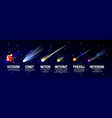 cartoon meteorite comet asteroid set vector image