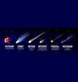 cartoon meteorite comet asteroid set vector image