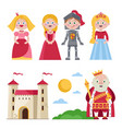 characters of medieval tales with castle vector image
