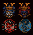 colorful samurai t-shirt designs bundle vector image